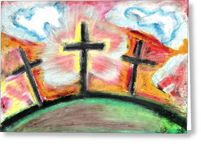 Christianity Pastels Greeting Cards - Jesus Loves You Greeting Card by Levi Glassrock