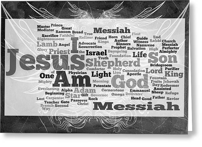 Author Mixed Media Greeting Cards - Jesus Messiah Greeting Card by Angelina Vick