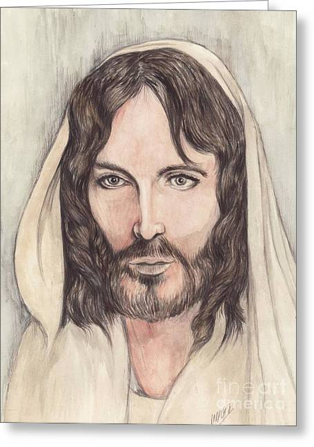 Christ Mixed Media Greeting Cards - Jesus of Nazereth Greeting Card by Morgan Fitzsimons