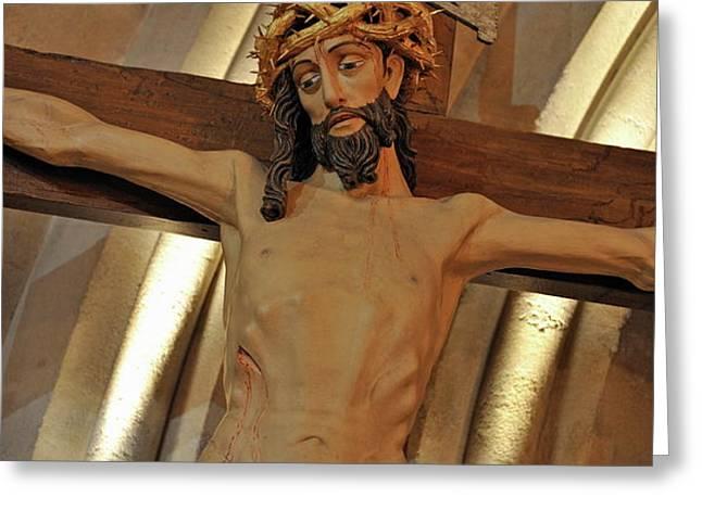 Jesus on cross Greeting Card by Sami Sarkis