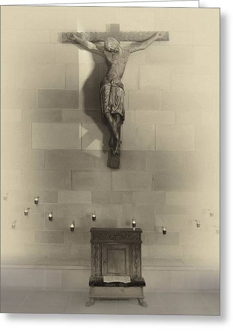 Amen Greeting Cards - JESUS on the CROSS Chapel Icon Greeting Card by Daniel Hagerman