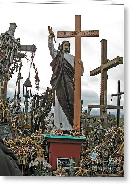 Jesus On The Hill Of Crosses. Lithuania Greeting Card by Ausra Huntington nee Paulauskaite