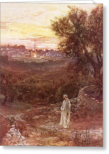 Wall-mounted Greeting Cards - Jesus on the mount of Olives Greeting Card by William Brassey Hole