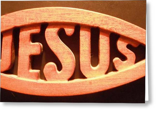 Fish Christian Art Prints Greeting Cards - Jesus Plaque Greeting Card by Jeannie Atwater Jordan Allen