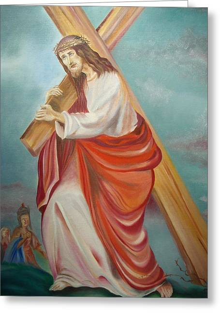Prasenjit Dhar Paintings Greeting Cards - Jesus Greeting Card by Prasenjit Dhar
