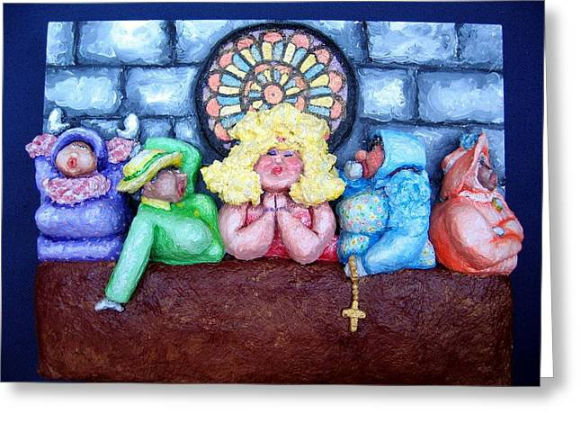Temple Reliefs Greeting Cards - Jesus Save Us. The Devil has Come to Church Greeting Card by Alison  Galvan