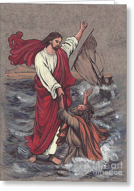 Best Sellers -  - Religious Mixed Media Greeting Cards - Jesus Saves Peter Greeting Card by Morgan Fitzsimons