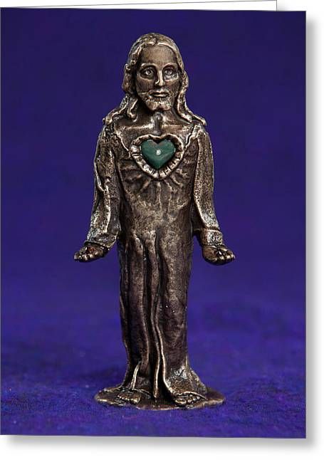 Sacred Sculptures Greeting Cards - Jesus Statue with Sacred Heart Greeting Card by Jasmina Agrillo Scherr