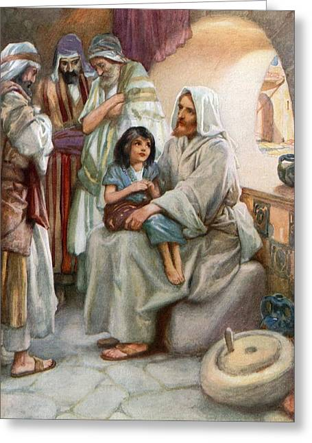 Cloth Greeting Cards - Jesus Teaching the People Greeting Card by Arthur A Dixon