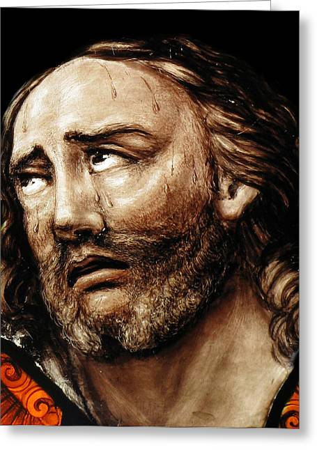 Religious Photographs Greeting Cards - Jesus Tears Greeting Card by Munir Alawi