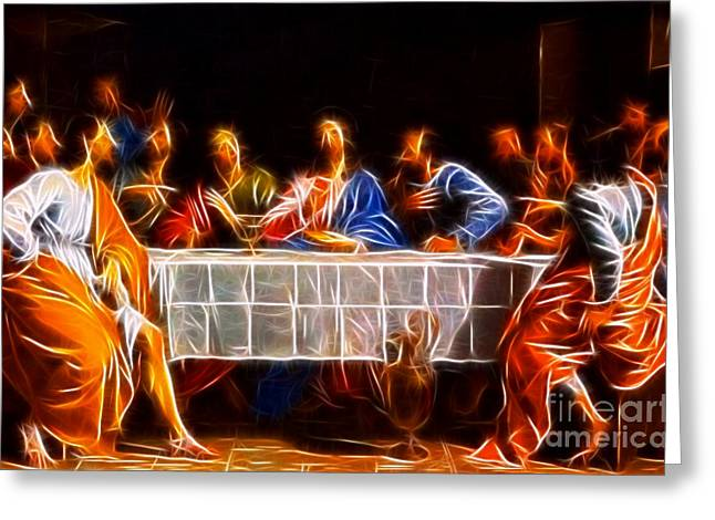 The Church Mixed Media Greeting Cards - Jesus The Last Supper Greeting Card by Pamela Johnson