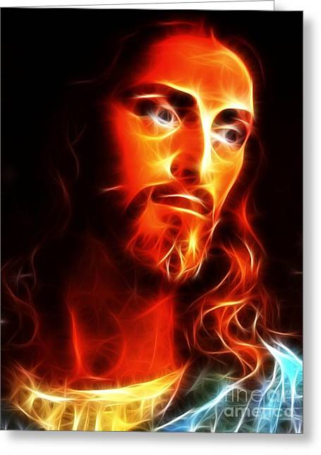 Calvary Mixed Media Greeting Cards - Jesus Thinking About You Greeting Card by Pamela Johnson