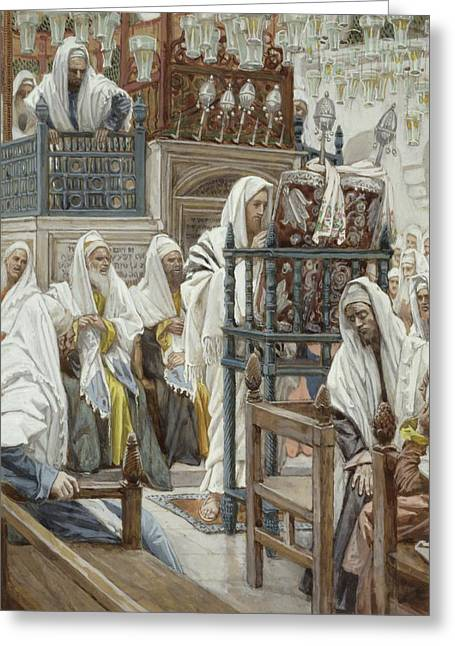 Jesus Greeting Cards - Jesus Unrolls the Book in the Synagogue Greeting Card by Tissot