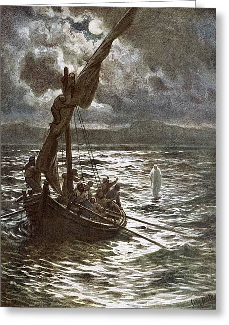 Walking On Water Greeting Cards - Jesus Walking Upon The Sea Greeting Card by William Brassey Hole