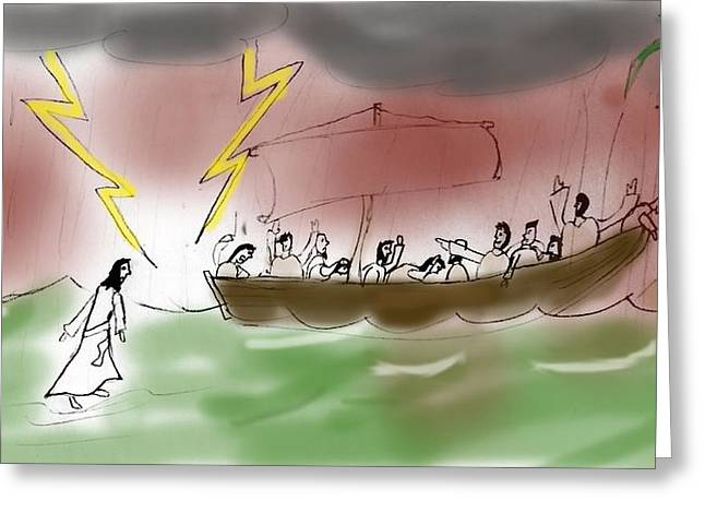 Levi Greeting Cards - Jesus Walks on Water Greeting Card by LSA student Levi