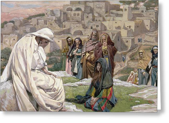 Religious Paintings Greeting Cards - Jesus Wept Greeting Card by Tissot