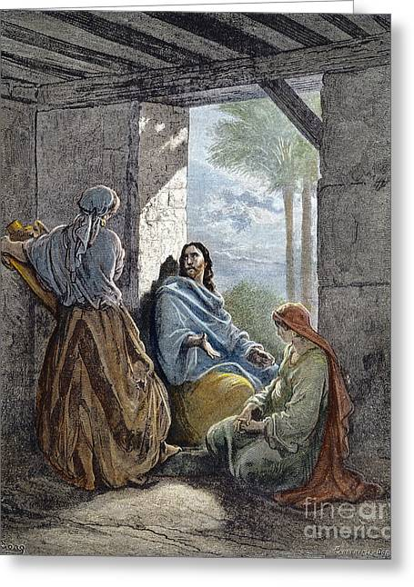 Testament Greeting Cards - Jesus With Martha & Mary Greeting Card by Granger