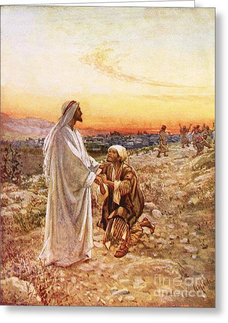 Gratitude Greeting Cards - Jesus withe the one leper Who Returned to Give Thanks Greeting Card by William Brassey Hole