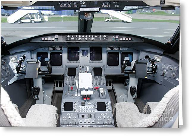 Air Travel Greeting Cards - Jet Airplane Cockpit Greeting Card by Jaak Nilson