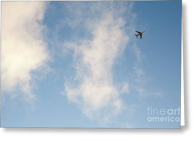 Above The Clouds Greeting Cards - Jet Airplane Overhead Greeting Card by Paul Edmondson