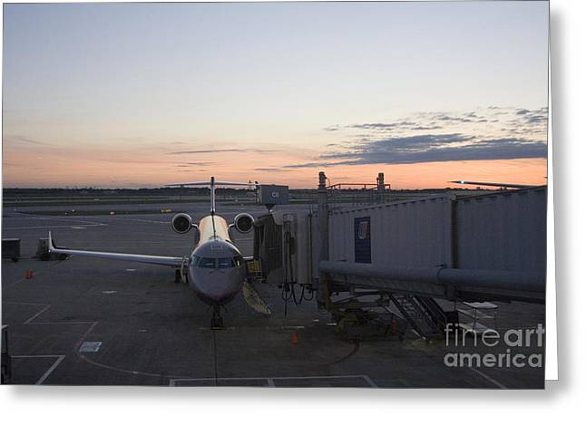 Commuter Plane Greeting Cards - Jet bridge being attached to Canadair CRJ-200 Greeting Card by Christopher Purcell