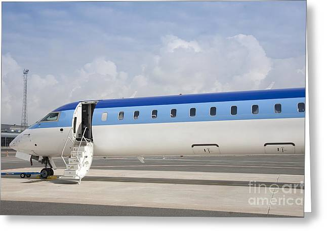 Airline Industry Greeting Cards - Jet Plane With Extended Steps Greeting Card by Jaak Nilson
