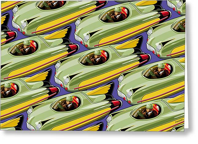 Toys Greeting Cards - Jet Racer rush hour Greeting Card by Ron Magnes
