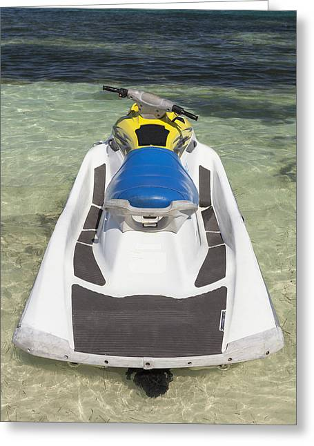 Ski Place Greeting Cards - Jet Ski In Shallow Water At The Waters Greeting Card by Bryan Mullennix