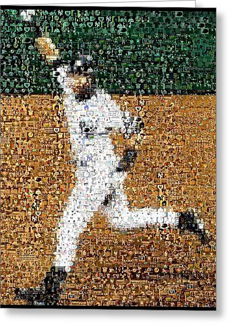 Walk Off Greeting Cards - Jeter Walk-Off Mosaic Greeting Card by Paul Van Scott