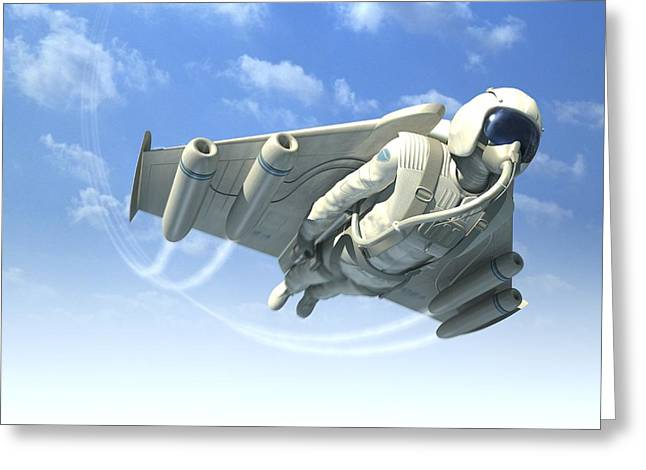 High Altitude Flying Greeting Cards - Jetman, Artwork Greeting Card by Henning Dalhoff