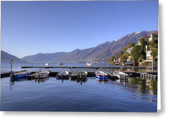 Motor Boats Greeting Cards - jetty in Ascona Greeting Card by Joana Kruse