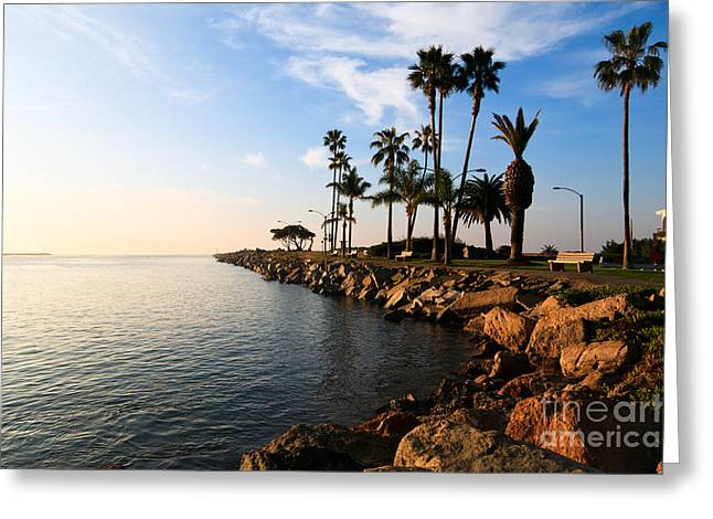 Pacific Ocean Images Greeting Cards - Jetty on Balboa Peninsula Newport Beach California Greeting Card by Paul Velgos