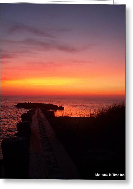 Color_image Greeting Cards - Jetty Sunset 1999 Greeting Card by Glenn McCurdy
