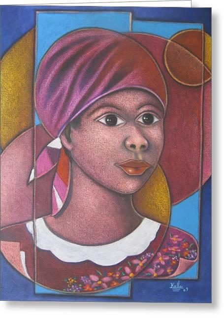 Haitian Paintings Greeting Cards - Jeune Fille en Rose Greeting Card by Keller
