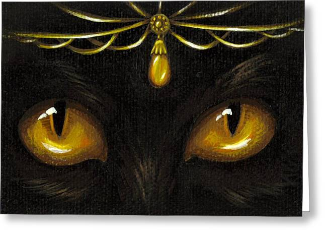Cat Eyes Greeting Cards - Jeweled Kitty Amber Greeting Card by Elaina  Wagner