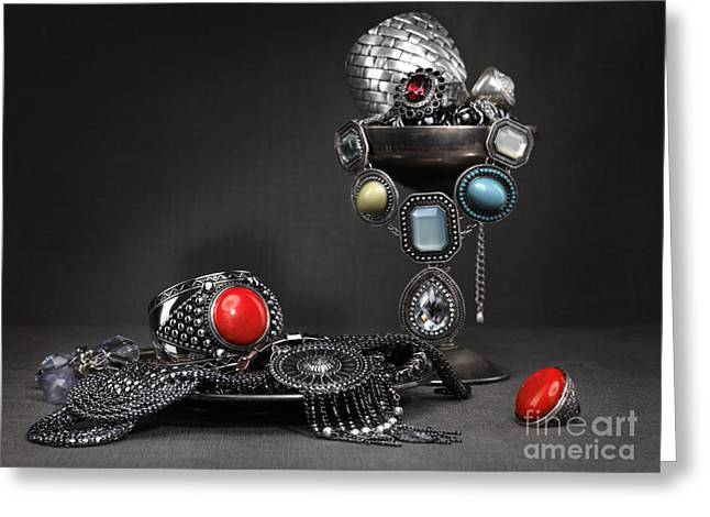 Necklet Greeting Cards - Jewellery Still Life Greeting Card by Oleksiy Maksymenko