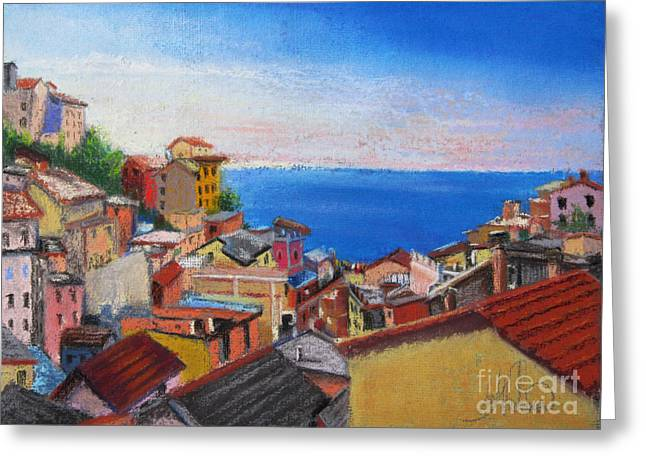 Italian Landscape Pastels Greeting Cards - Jewels of Riomaggiore Greeting Card by Leah Wiedemer