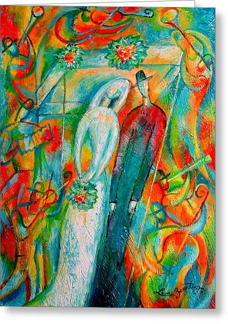 People Paintings Greeting Cards - Jewish Wedding Greeting Card by Leon Zernitsky