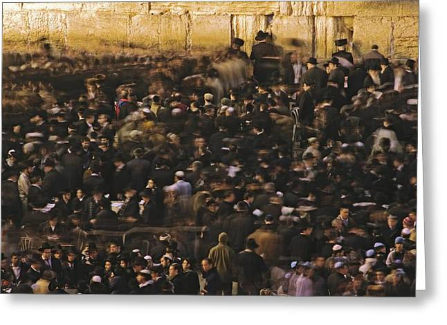 Remains Of Images Greeting Cards - Jews Gather Every Day To Pray Greeting Card by Michael Melford