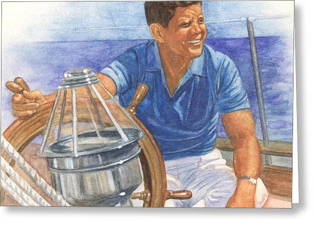 President Pastels Greeting Cards - JFK Sailing Greeting Card by Robert Casilla