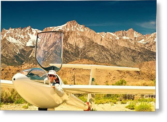 Mccrea Greeting Cards - Jim Archer and Kestrel Sailplane Lone Pine California Greeting Card by Gus McCrea