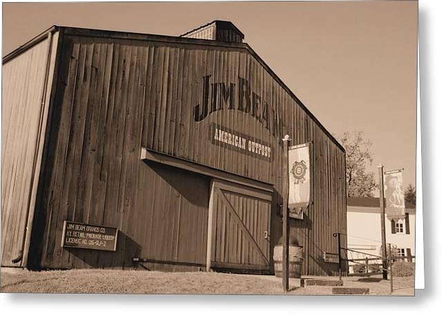 Lynnette Johns Greeting Cards - Jim Beam Distillery Sepia Greeting Card by Lynnette Johns