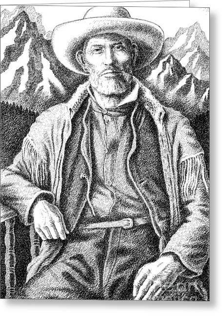 Pen And Ink Drawings For Sale Greeting Cards - Jim Bridger Greeting Card by Gordon Punt