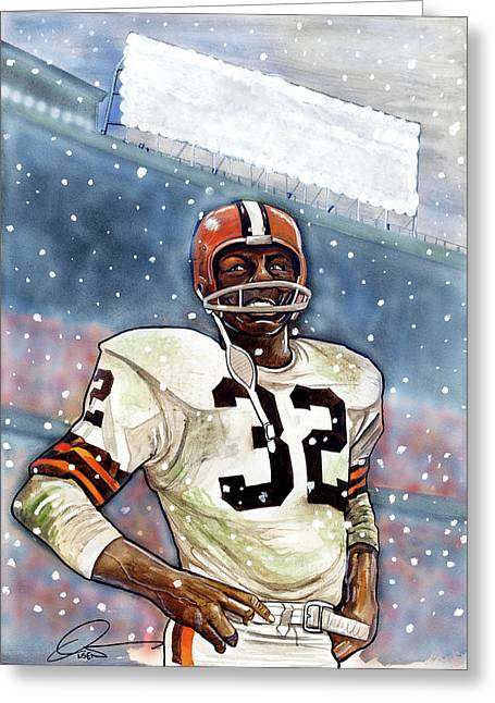 Fame Drawings Greeting Cards - Jim Brown Greeting Card by Dave Olsen