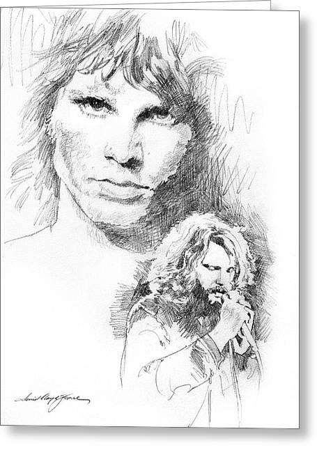 Popular Art Drawings Greeting Cards - Jim Morrison Faces Greeting Card by David Lloyd Glover