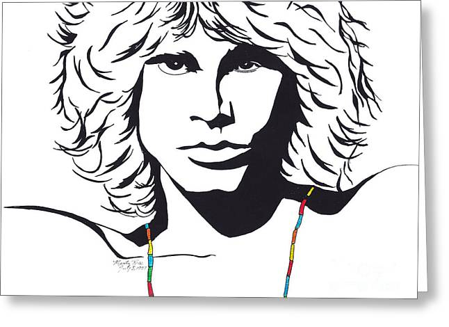 Historic Site Drawings Greeting Cards - Jim Morrison Greeting Card by Marty Rice