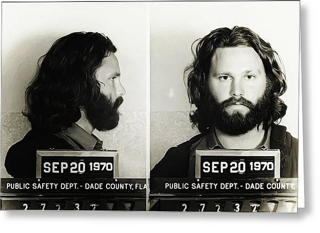 Mug Digital Art Greeting Cards - Jim Morrison Mugshot Greeting Card by Bill Cannon