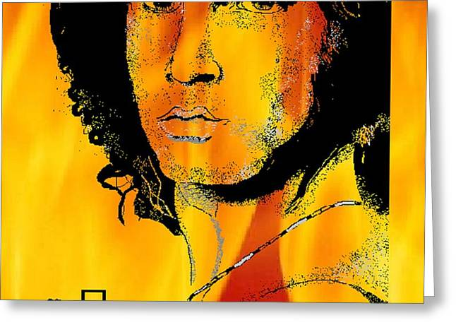 Jim Morrison on Fire Greeting Card by Jason Kasper