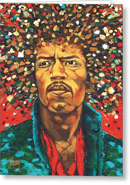 The Jimi Hendrix Experience Greeting Cards - Jimi 1 Greeting Card by Stan Kwong