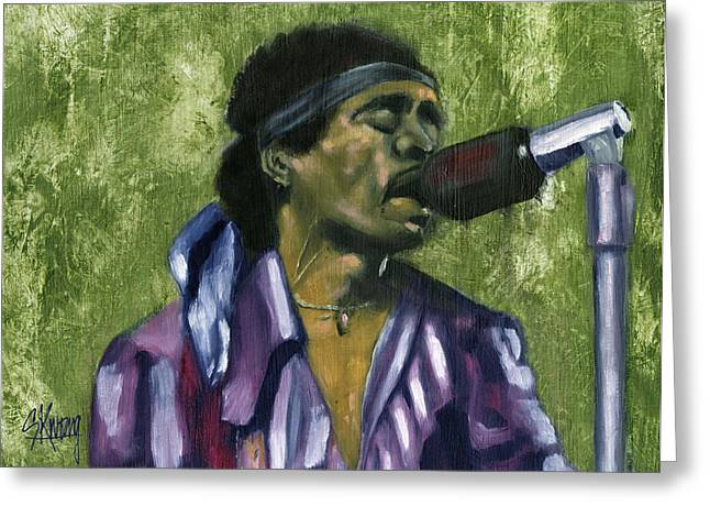 The Jimi Hendrix Experience Greeting Cards - Jimi 2 Greeting Card by Stan Kwong